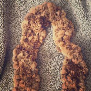 Super soft golden brown faux fur scarf